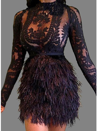 Lace Long Sleeves Sheath Above Knee Little Black/Sexy/Party Dresses