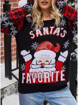 Print Cartoon Round Neck Casual Christmas Sweaters