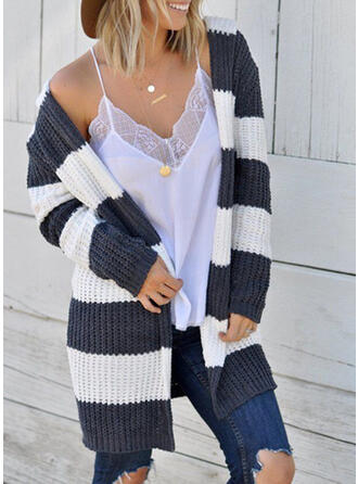Striped Ribbed Collarless Cardigan