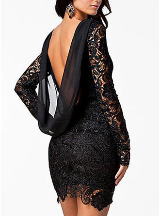 Lace/Solid Long Sleeves Sheath Above Knee Little Black/Sexy/Party/Elegant Dresses