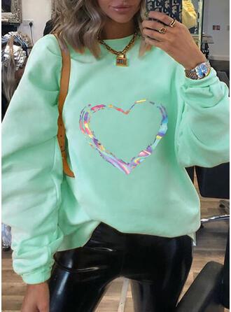 Print Hjerte rund hals Lange ærmer Sweatshirts