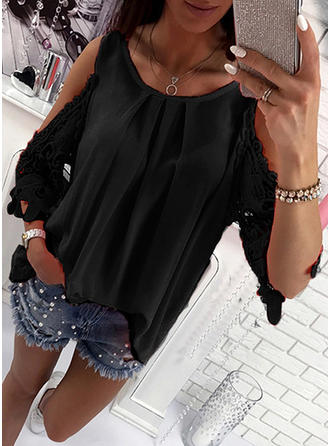 Round Neck 3/4 Sleeves Blouses
