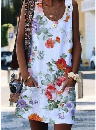 Estampado/Floral Sem mangas Shift Acima do Joelho Casual/Férias Vestidos