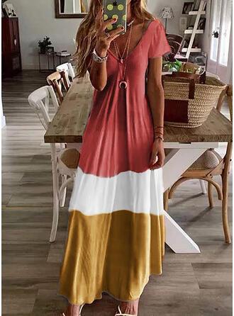 Geblockte Farben Kurze Ärmel Shift Freizeit Maxi Kleider