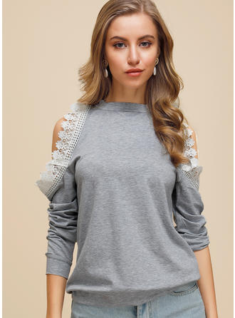 Solid Lace Round Neck Cold Shoulder Long Sleeves Casual Knit Blouses