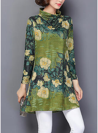 Print/Floral Long Sleeves Shift Above Knee Casual/Elegant Dresses