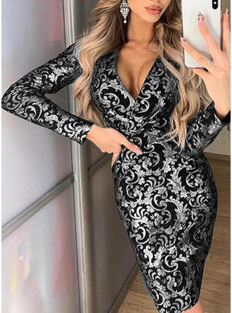 Print Long Sleeves Bodycon Midi Party Dresses