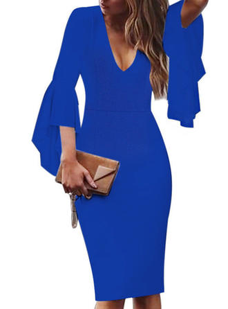 Solid Flare Sleeves Bodycon Knee Length Little Black/Party/Elegant Dresses