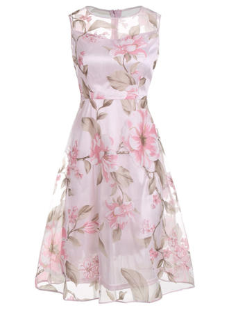 Print/Floral Sleeveless A-line Knee Length Vintage/Casual/Elegant Dresses