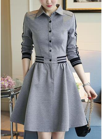 Striped Shirt collar Knee Length A-line Dress