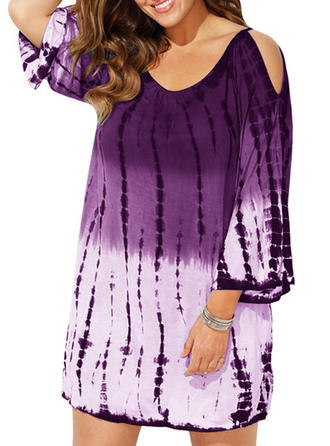 Splice color Round Neck Beautiful Plus Size Cover-ups Swimsuits