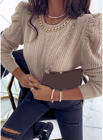 Sólido Punto De Cable Cuello Redondo Casuales Suéteres