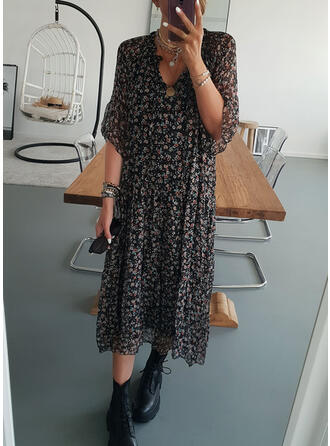 Print/Floral 1/2 Sleeves Shift Casual Midi Dresses
