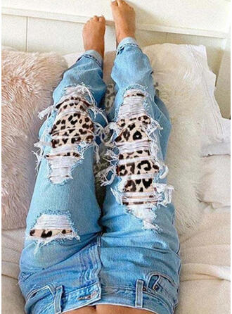 Leopardo Tribal Algodón Largo Clásico Tallas Grande rasgados Pantalones Vaqueros