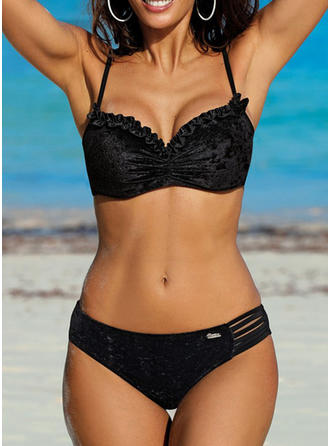 Solid Color Lace Up Strap Elegant Fashionable Bikinis Swimsuits