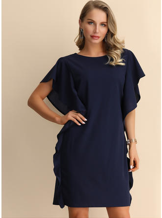 Solid Short Sleeves/Batwing Sleeves Shift Knee Length Casual Dresses
