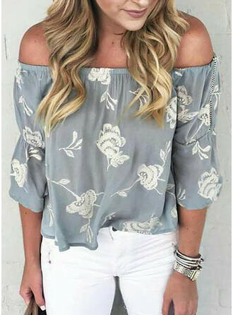 Print Bloemen Off the Shoulder 3/4 Mouwen Casual Pailletten Blouses