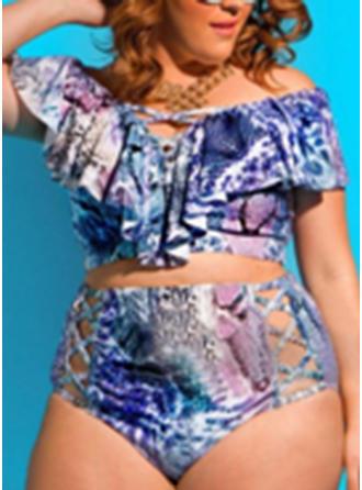 Taille Haute Imprimé Tropical Sans Bretelle Sexy Grande taille Bikinis Maillots De Bain