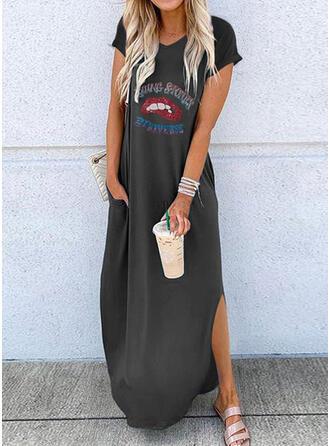 Print Short Sleeves Shift Casual Midi Dresses