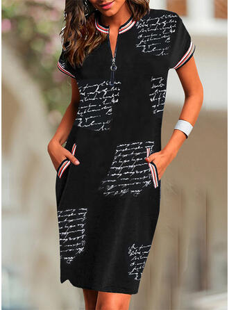 Print Short Sleeves Bodycon Knee Length Casual/Elegant Dresses