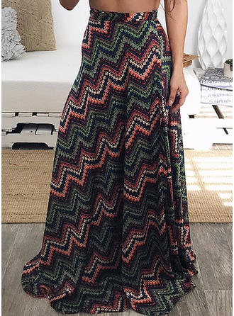 Polyester Print Floor-Length A-Line Skirts