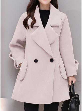 Bavlna Dlouhé rukávy Jednobarevný Vlněné kabáty
