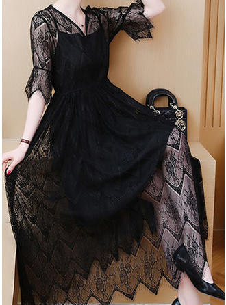 Lace/Solid 1/2 Sleeves A-line Midi Little Black/Casual Dresses