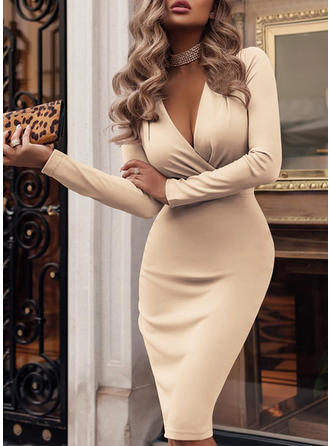 Solid Long Sleeves Bodycon Knee Length Sexy/Party/Elegant Dresses