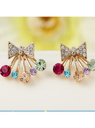 Exquisito Lazo Formado Aleación Diamantes de imitación Pendientes