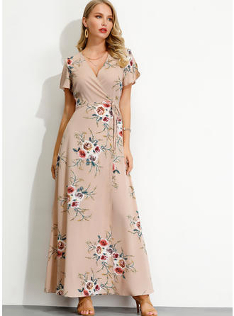 Print/Floral Short Sleeves/Split Sleeve A-line Maxi Casual/Elegant Dresses