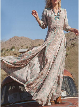 Print 3/4 Sleeves A-line Maxi Boho/Vacation Dresses