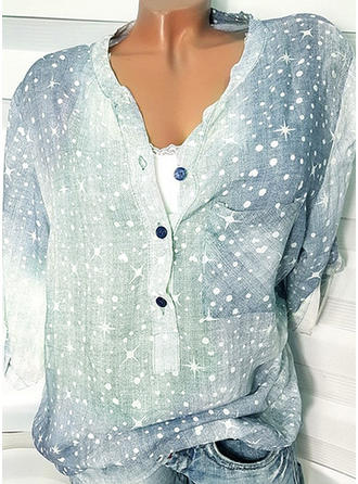 Print V Neck 3/4 Sleeves Button Up Casual Blouses