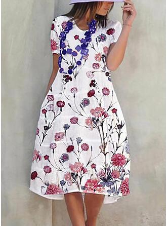 Nadrukowana/Kwiatowy Krótkie rękawy W kształcie litery A Casual Midi Sukienki