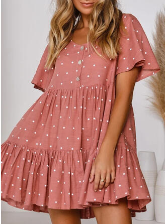 PolkaDot Short Sleeves A-line Knee Length Casual/Vacation Dresses