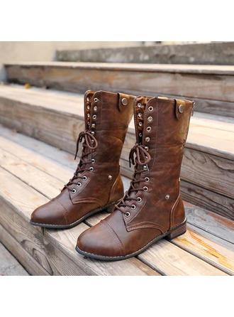 Kvinder PU Lav Hæl Støvler med Blondér sko