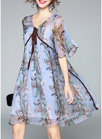 Chiffon With Ruffles Above Knee Dress (Two Pieces )