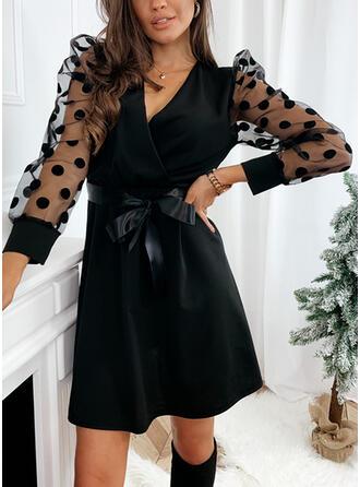 Sólido/Lunares Manga Larga/Mangas Abullonadas Cubierta Sobre la Rodilla Pequeños Negros/Elegante Vestidos