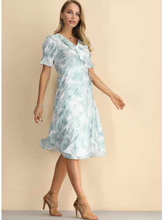 Print Short Sleeves A-line Knee Length Casual/Elegant Dresses