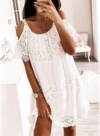 Lace/Solid Short Sleeves/Cold Shoulder Sleeve Shift Knee Length Little Black/Casual/Vacation Dresses