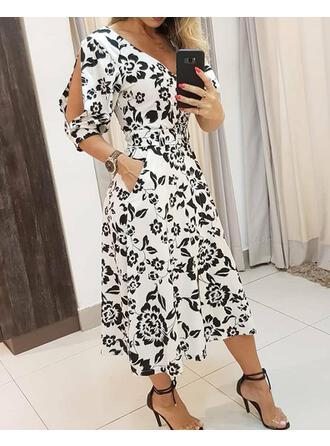 Print/Floral 3/4 Sleeves/Split Sleeve A-line Skater Casual/Elegant Midi Dresses