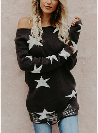 Print Chunky knit One Shoulder Sweaters