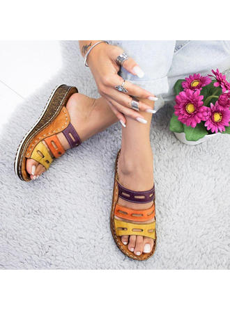 Vrouwen PU Wedge Heel Sandalen Wedges Peep Toe met Hol-out schoenen