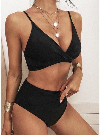 Tinta unita Vita Alta Cinghia Scollatura a V Sexy Stile vintage Fresco Bikinis Costumi Da Bagno