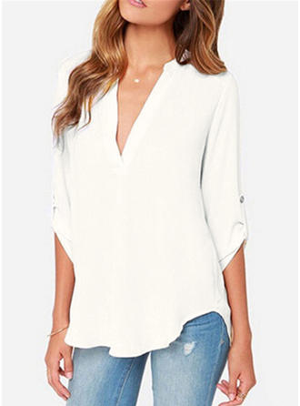 Chiffon V Neck Plain 1/2 Sleeves Casual Blouses