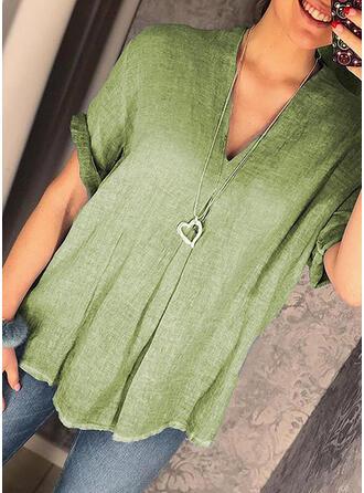 Solid V-ringning Korta ärmar Fritids Stickning t-shirt