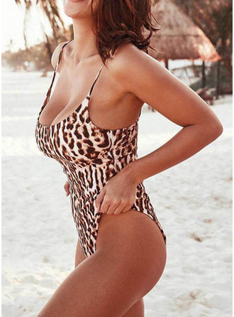 Leopard Thong Strap Sexy One-piece Swimsuits