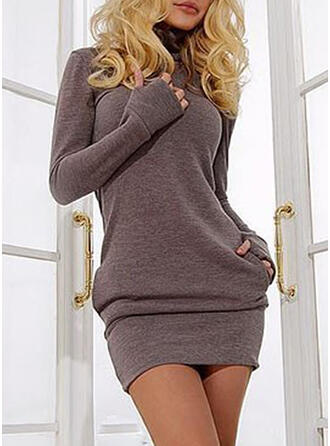 Long Sleeves Bodycon Above Knee Sweater/Casual