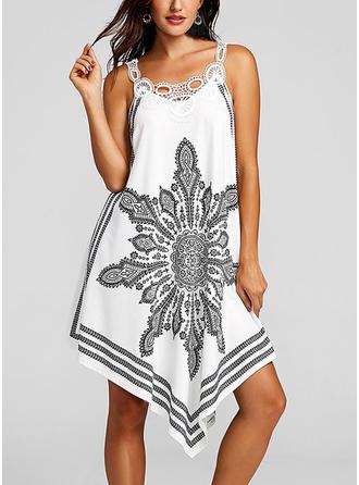 Print Bohemian Strap Asymmetrical Shift Dress