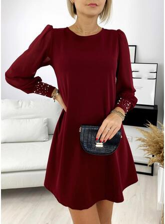 Solid/Beaded Long Sleeves/Puff Sleeves Shift Above Knee Little Black/Elegant Tunic Dresses