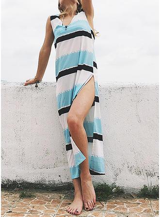 Color-block Striped V-neck Maxi Shift Dress